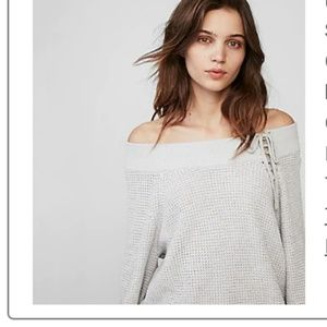 Express off shoulder bucket lace up sweater